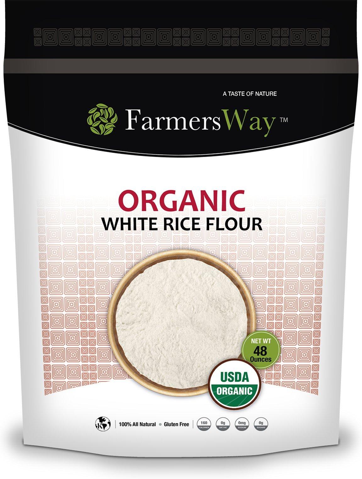 Farmers Way Organic White Rice Flour 100% Natural 48 Ounces