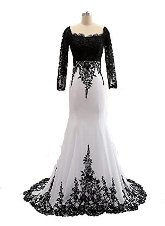 Dingzan White And Black Mermaid Mother Of The Bride Dress With Lace