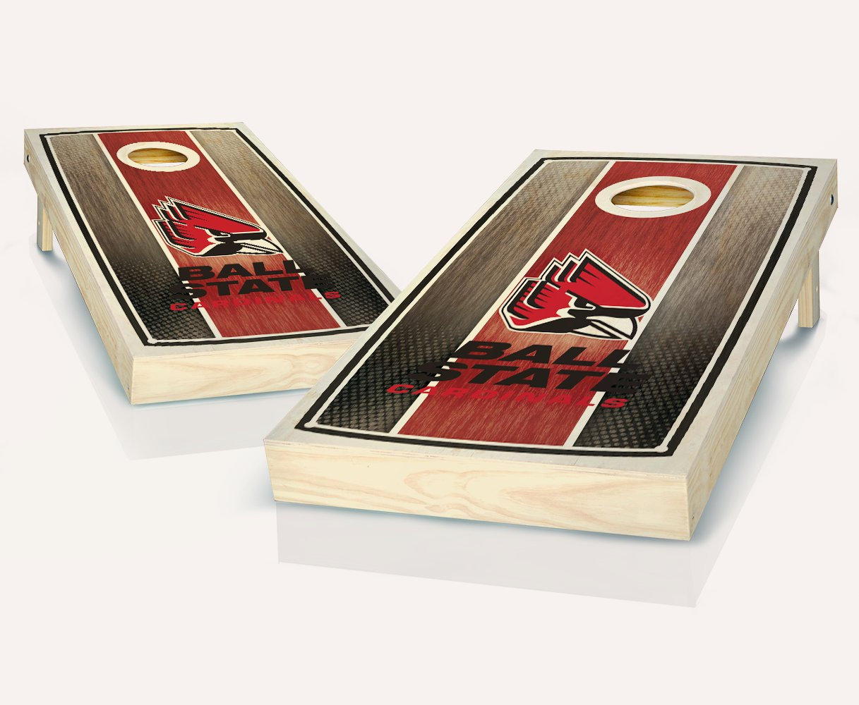 Ball State Cardinals StainedストライプカスタムCornholeボードregulation sizeゲームセットBaggo Bean Bag Toss + 8 ACA Regulation Bags B07CS74NY3