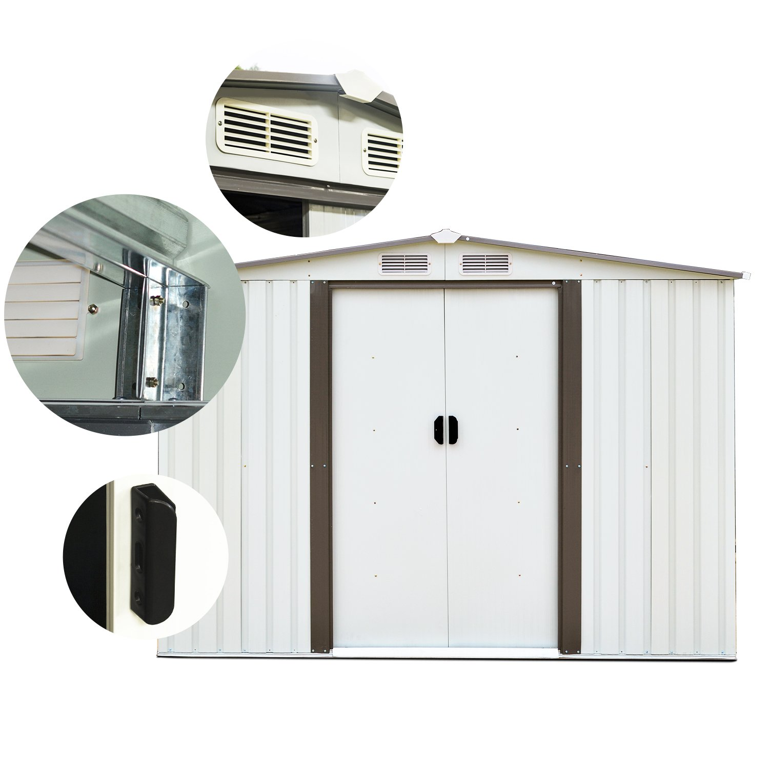 Doitpower 8 x 6 Outdoor Steel Garden Storage Utility Tool Shed large Storage Space 357 Cubic Feet Gray