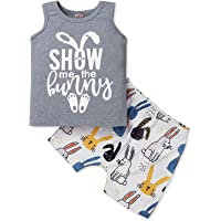Baby Boys Easter Outfits Infant Bunny Vest Tops +Rabbit Shorts 2pcs Casual Clothes