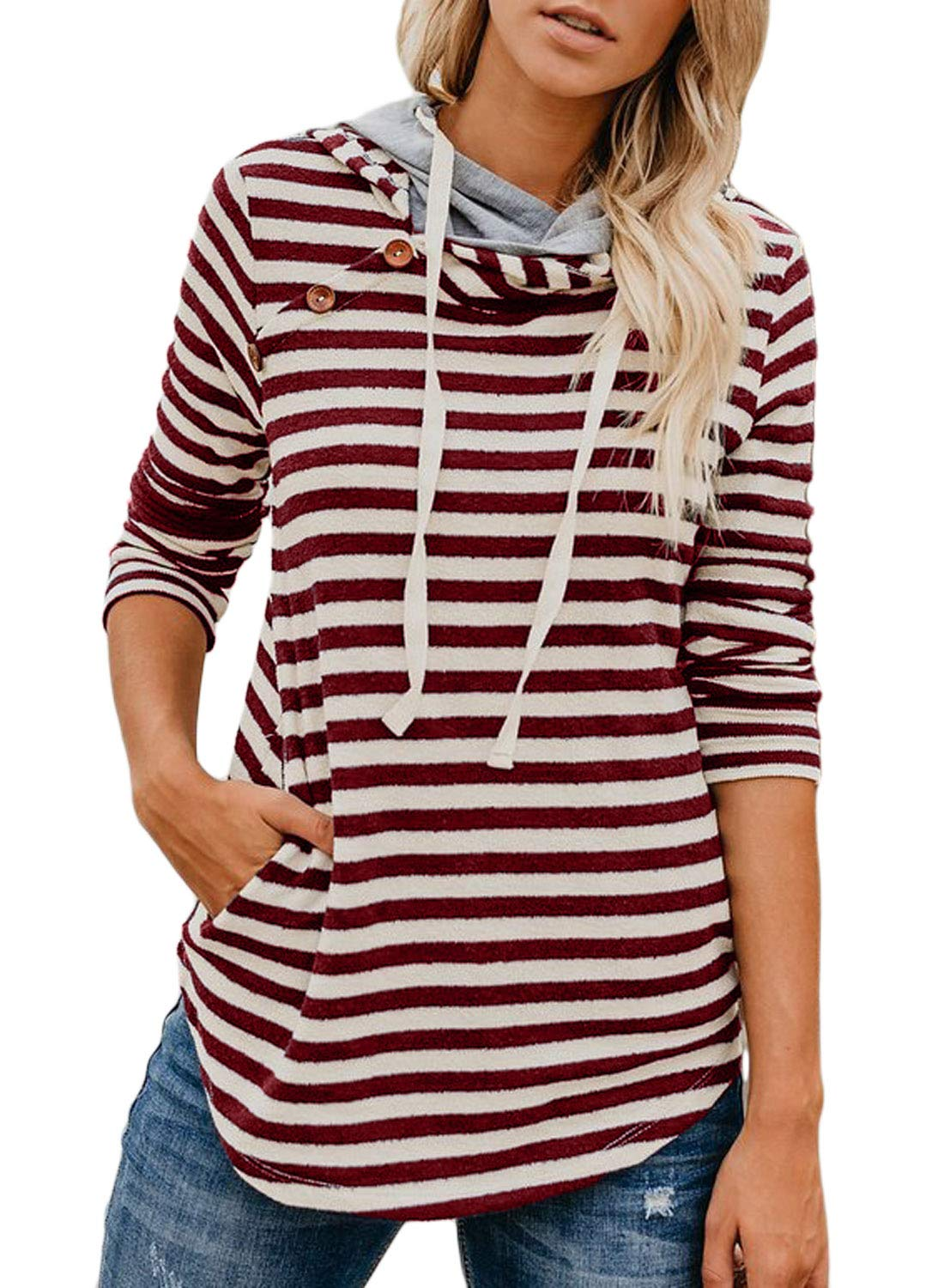 Elapsy Womens Striped Button Long Sleeve Double Hood Sweatshirts Hoodies S-2XL WQ251532