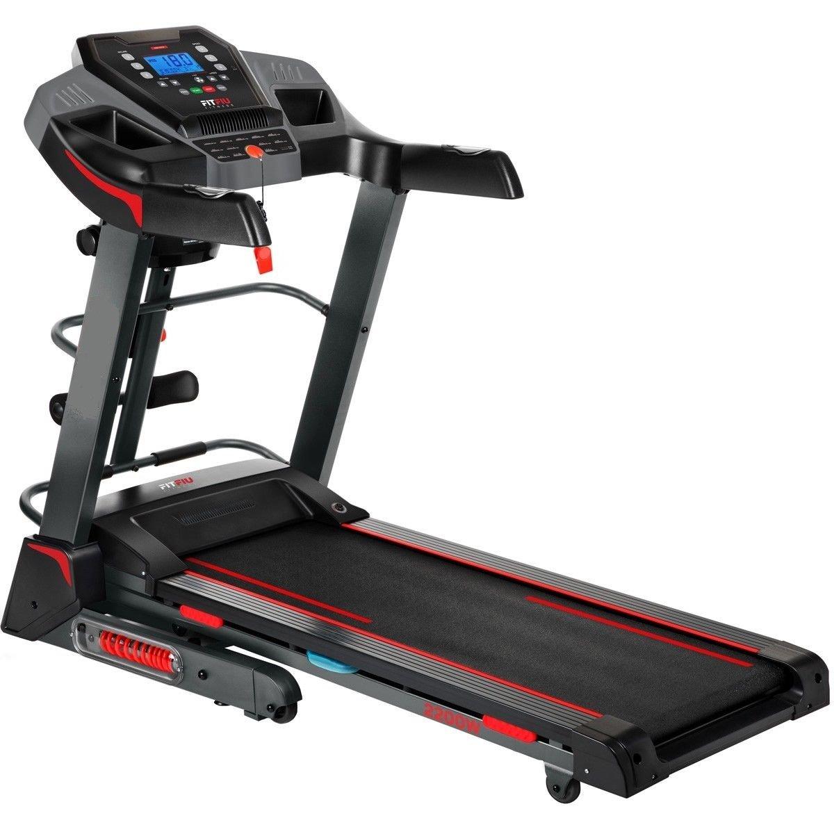 cinta de correr semiprofesional hasta 18km/hr con mancuernas, cinturon masajeador, disco giratorio,inclinacion automatica, altavoces, entrada mp3, ...