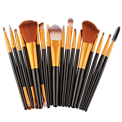 18 PCS Makeup Brush Set,St.Dona Make-up Toiletry Kit Soft Wool Make Up Brush Set Tools (Black)