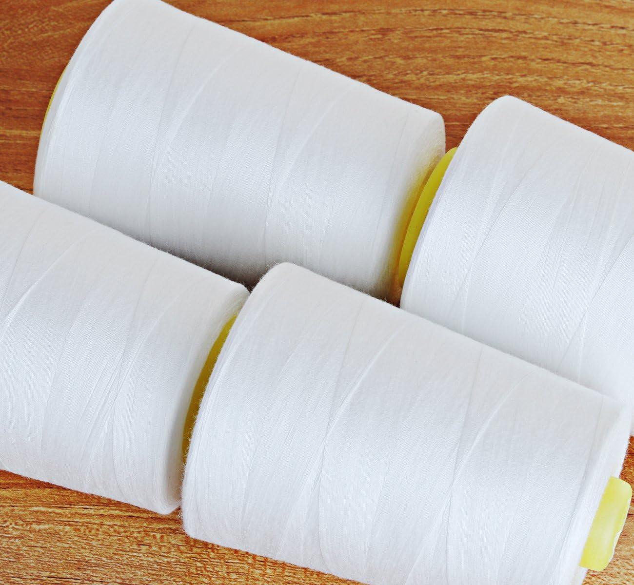Fili per cucire in poliestere Cubewit 4 PCS Fili per cucire per macchina da cucire 28000 iarde bianco
