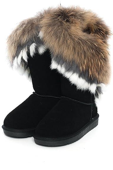 OOG Boots echtes Fell    Leder Damen Schuh Fellstiefel Bommel Winterstiefel  Pelz ad54aacf57