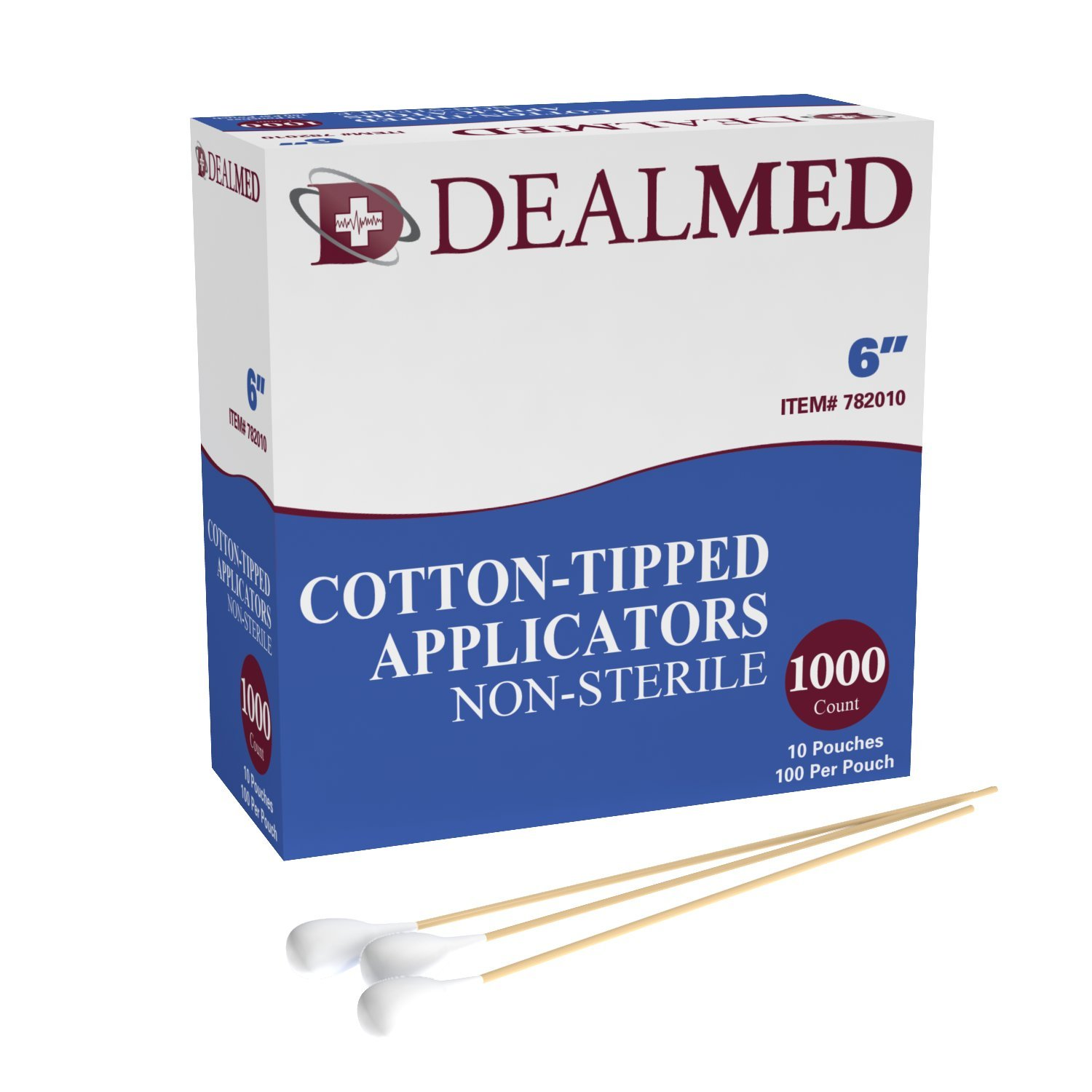 Dealmed Cotton Tipped Applicator with Wooden Shaft, 6 inches, 1000 Per Box by Dealmed (Image #1)