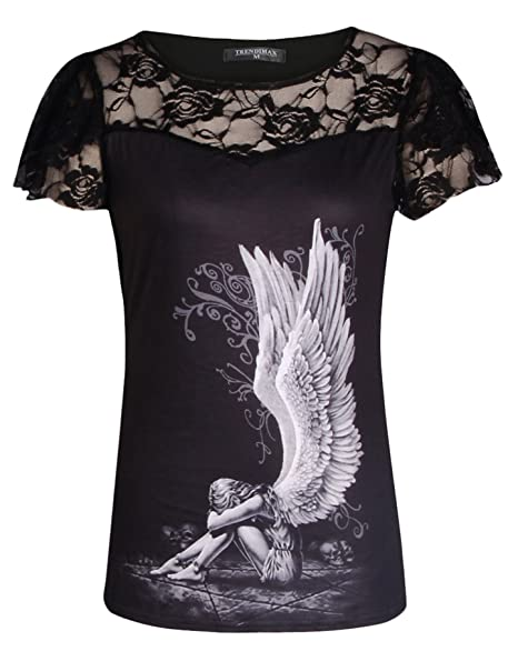 101a12c1baf25 Women Blouse Skull Print Sleeveless Lace Patchwork Tee Tops Plus Size T  Shirt