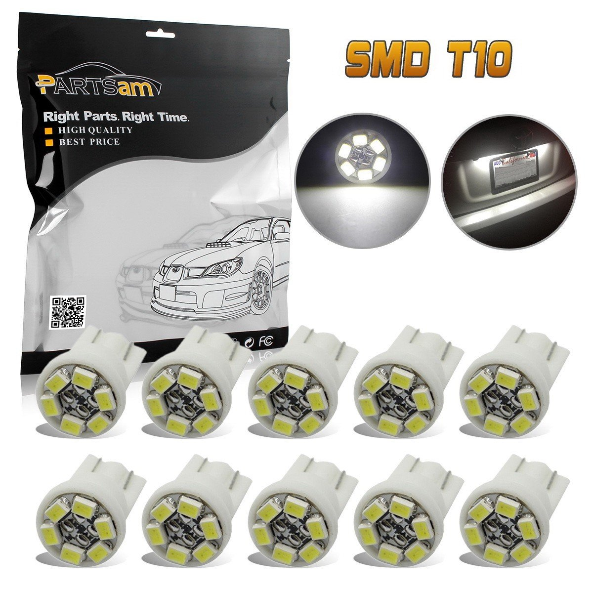 Partsam T10 194 168 LED Light Bulbs for Interior Lights Map Dome Door Courtesy License Plate Instrument Panel Gauge Cluster Dashboard Light Bulbs-10pcs White