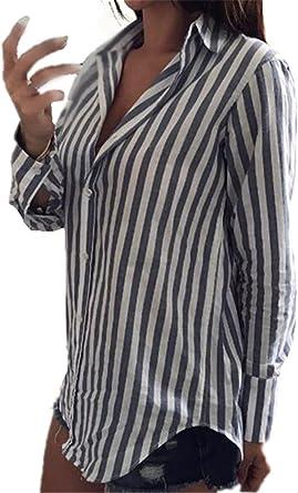 Aoliait Mujer Modernas A Rayas Camisa Joven Ocasionales Camiseta Bonitas Ligero Tops Mangas Largas Casual Universidad Blouses Hipster Suelto T Shirt: Amazon.es: Ropa y accesorios