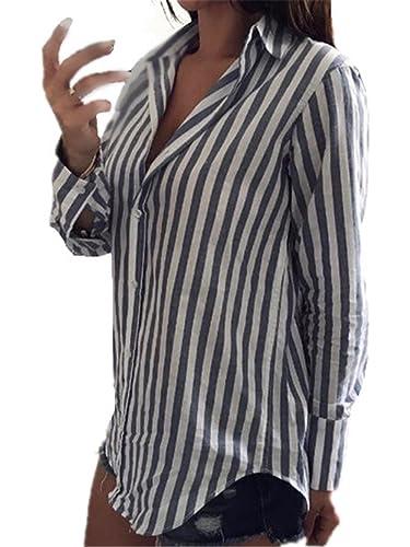 AILIENT Mujer Camiseta Blusa Mangas Largas Casual Elegante A Rayas Oficina Blouses Botones T Shirt Irregular
