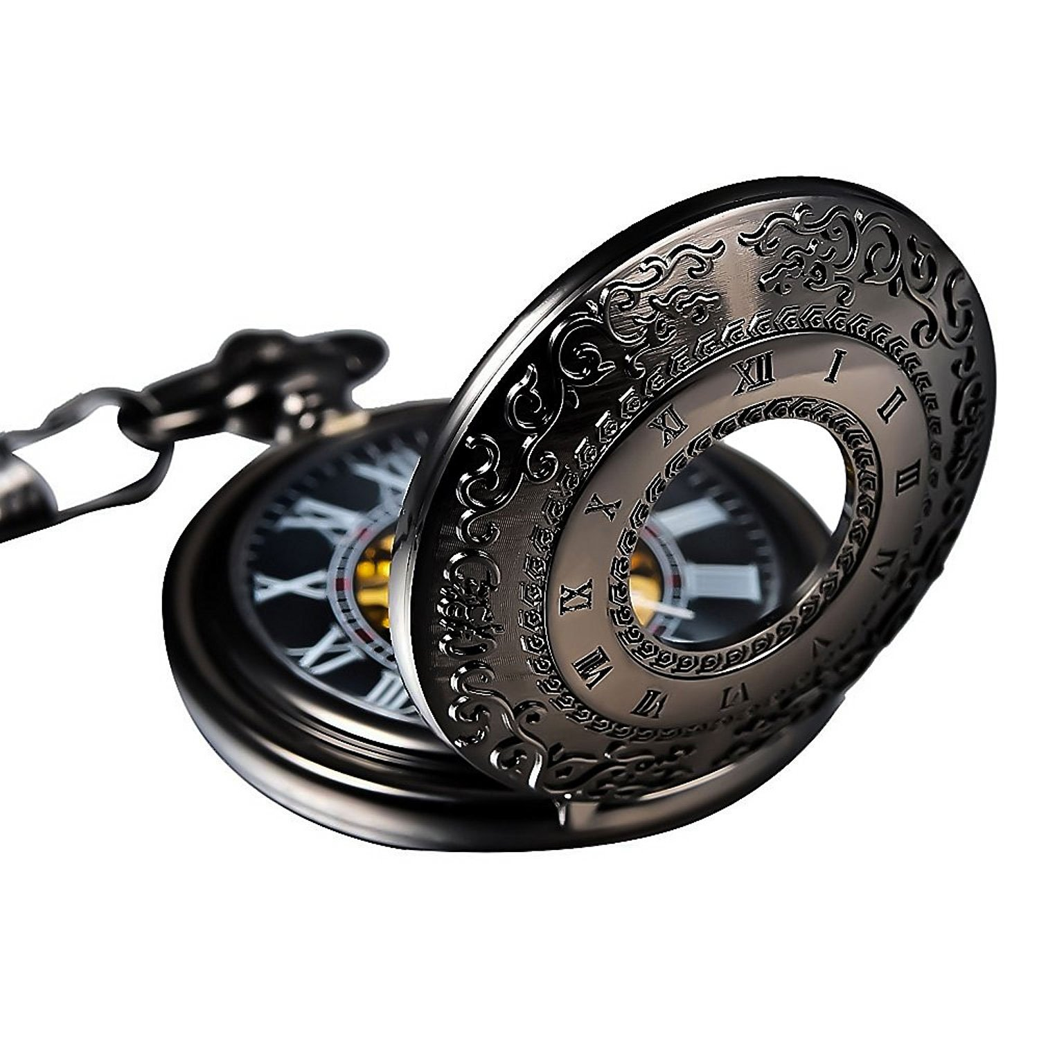 Carrie Hughes Vintage Black Steampunk Skeleton Mechanical Pocket Watch with Chain Gift (Black-Totem)