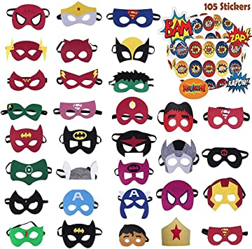 Amazon.com: DANGSHAN Máscaras de fieltro de superhéroe, 30 ...