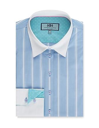 b4d8f56e41ff3 HAWES   CURTIS Womens Blue   White Multi Stripe Fitted Shirt - Single Cuff   Amazon.co.uk  Clothing