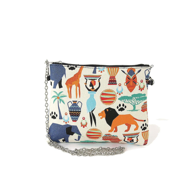 African Tribal Print On Canvas Clutch Shoulder Bag