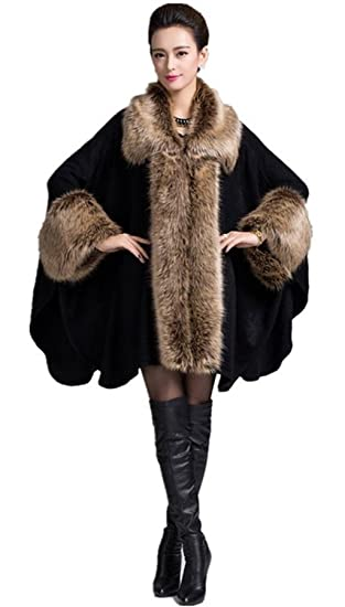 37a5a1e4a4c PLAER Women s Faux Fox Fur Trim Cape Wool Blend Cloak Winter Warm Coat Plus  Size