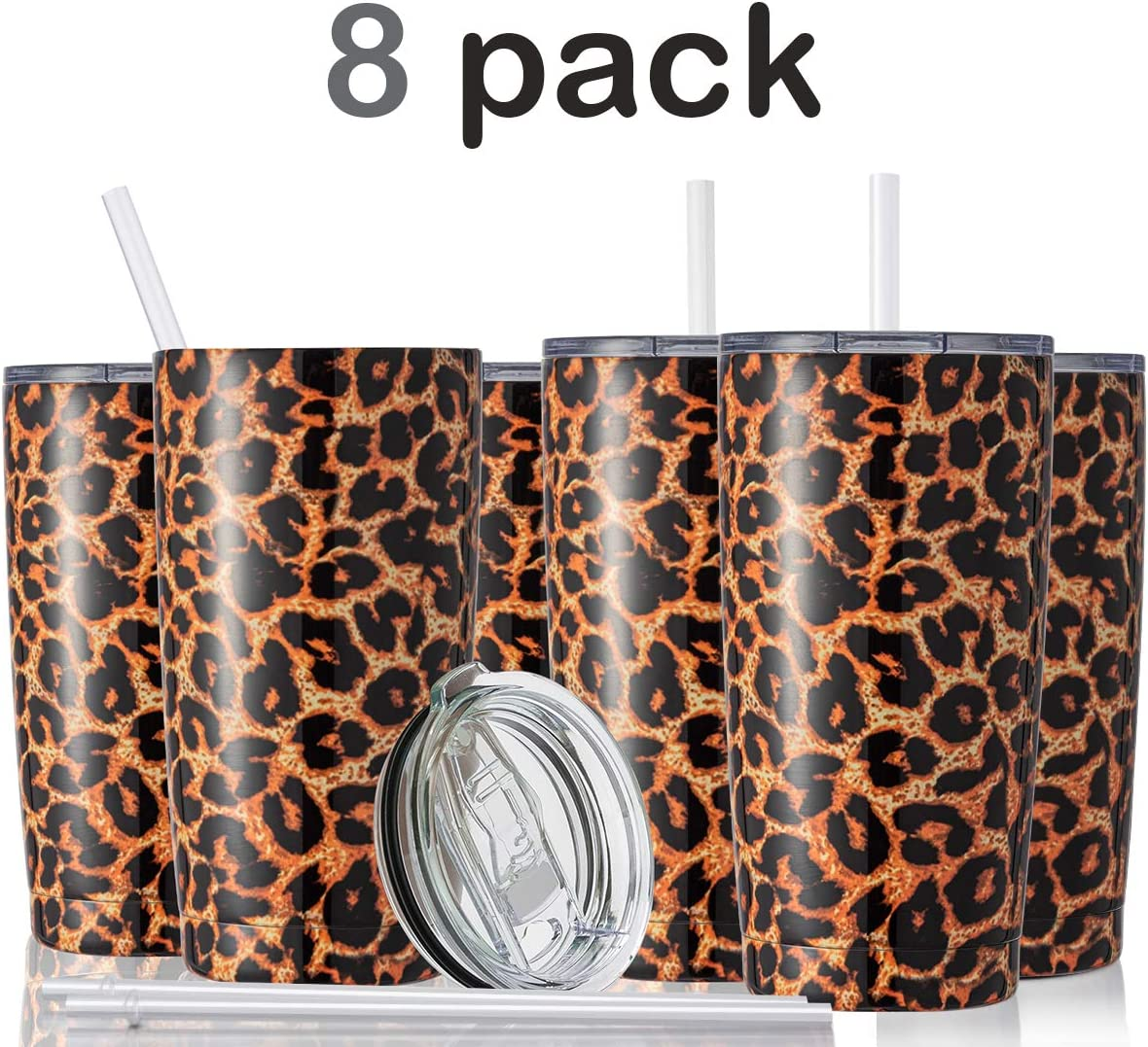 Civago 20oz Insulated Stainless Steel Tumbler, Coffee Tumbler with Lid and Straw, Double Wall Vacuum Travel Coffee Mug, Powder Coated Tumbler Cup (Leopard, 8 Pack)