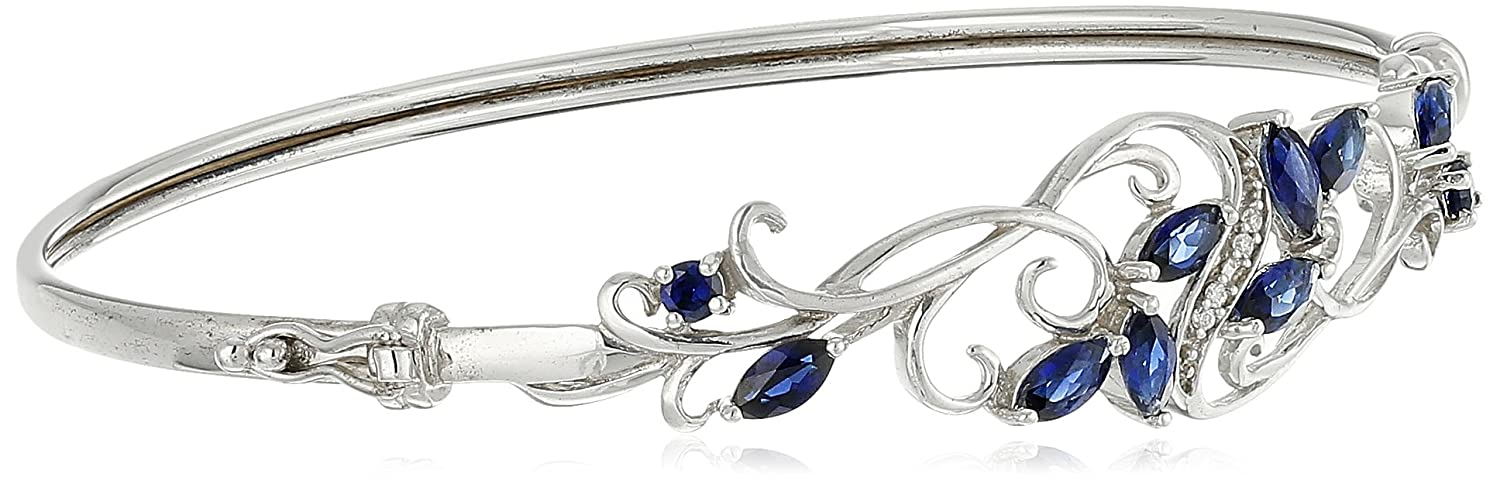 Sterling Silver Gemstone and Cubic Zirconia Filigree Bangle Bracelet Amazon Collection B15364AMSSWT