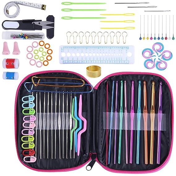 LATTCURE 100 PCS Kits de Crochet Accessoires à Tricoter Outils à Tricoter Aiguilles à Crochet 22PCS Crochets de Tricot Aluminium Assortiment de Crochets Outils avec Trousse en Cuir