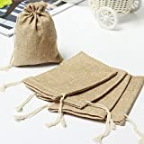 Spnavy 50 PCS Burlap Bags with Drawstring, Candy
