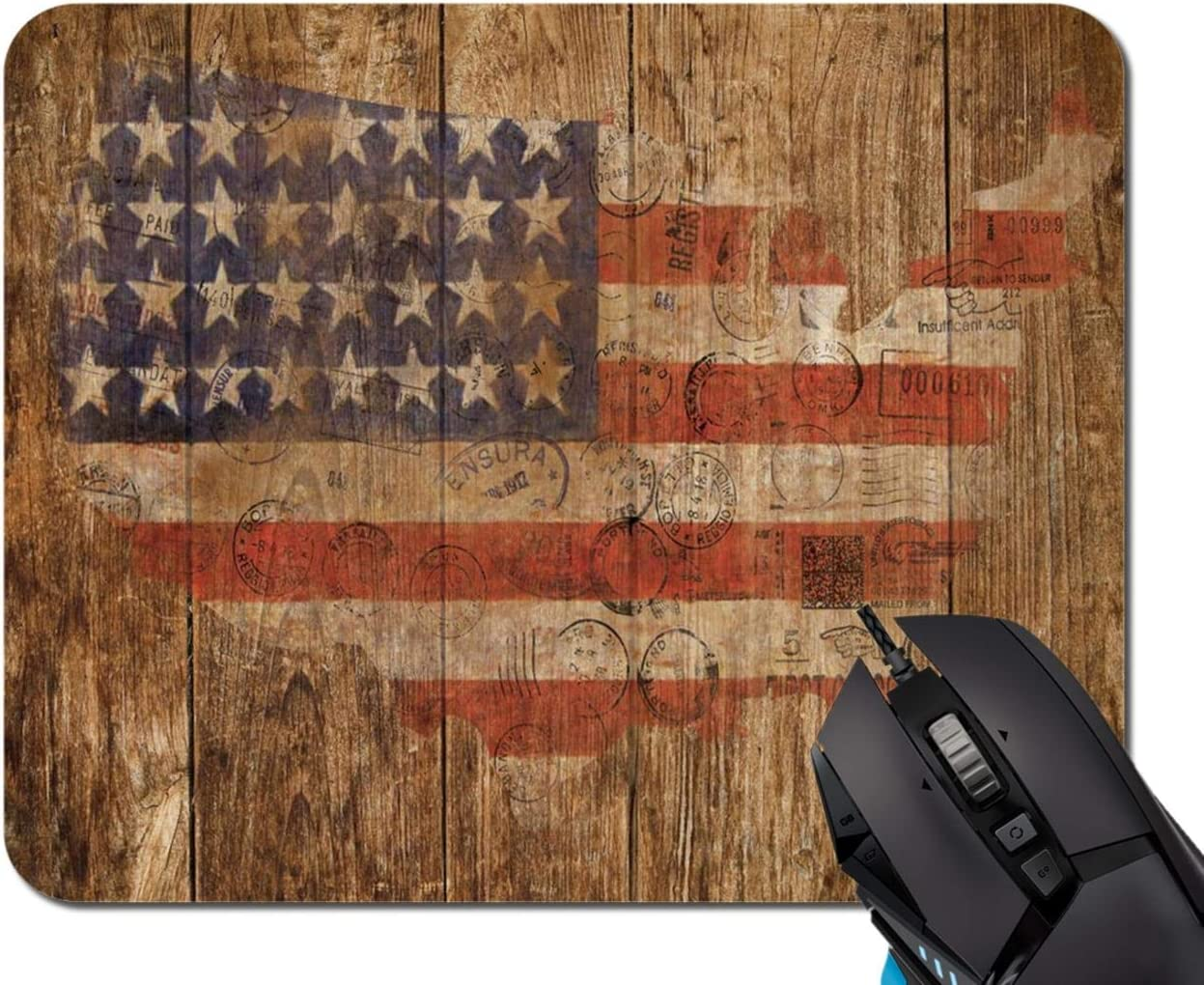 Mouse Pad,American Flag Vintage Art Wooden Wall Mouse Pad Rectangle Non-Slip Rubber Mousepad Office Accessories Desk Decor Mouse Pads for Computers Laptop