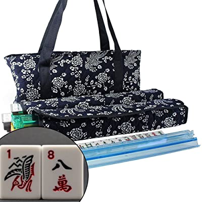 166 Tiles American Mahjong Set Blue Phoenix Soft Bag 4 Color Pushers/Racks Easy Carry Western Mahjongg