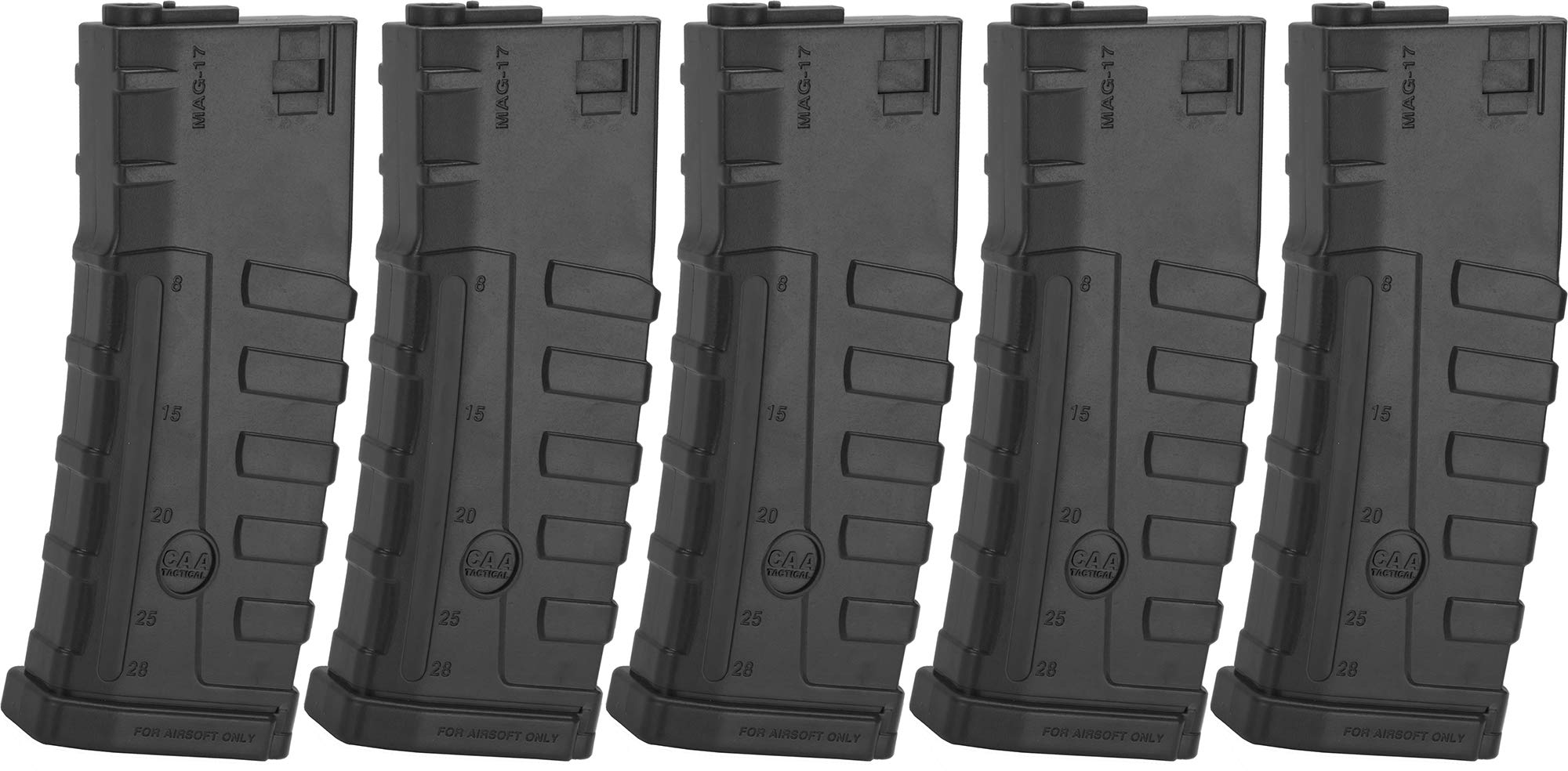 Evike Command Arms CAA Licensed Magazine for M4 M16 AEG Airsoft Rifles by King Arms (Type: 140rd Mid-Cap/Black / 5 Pack) by Evike