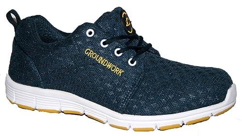 Groundwork Zapatillas de atletismo ultraligeras para hombre con puntera de acero para mayor seguridad: Amazon.es: Zapatos y complementos
