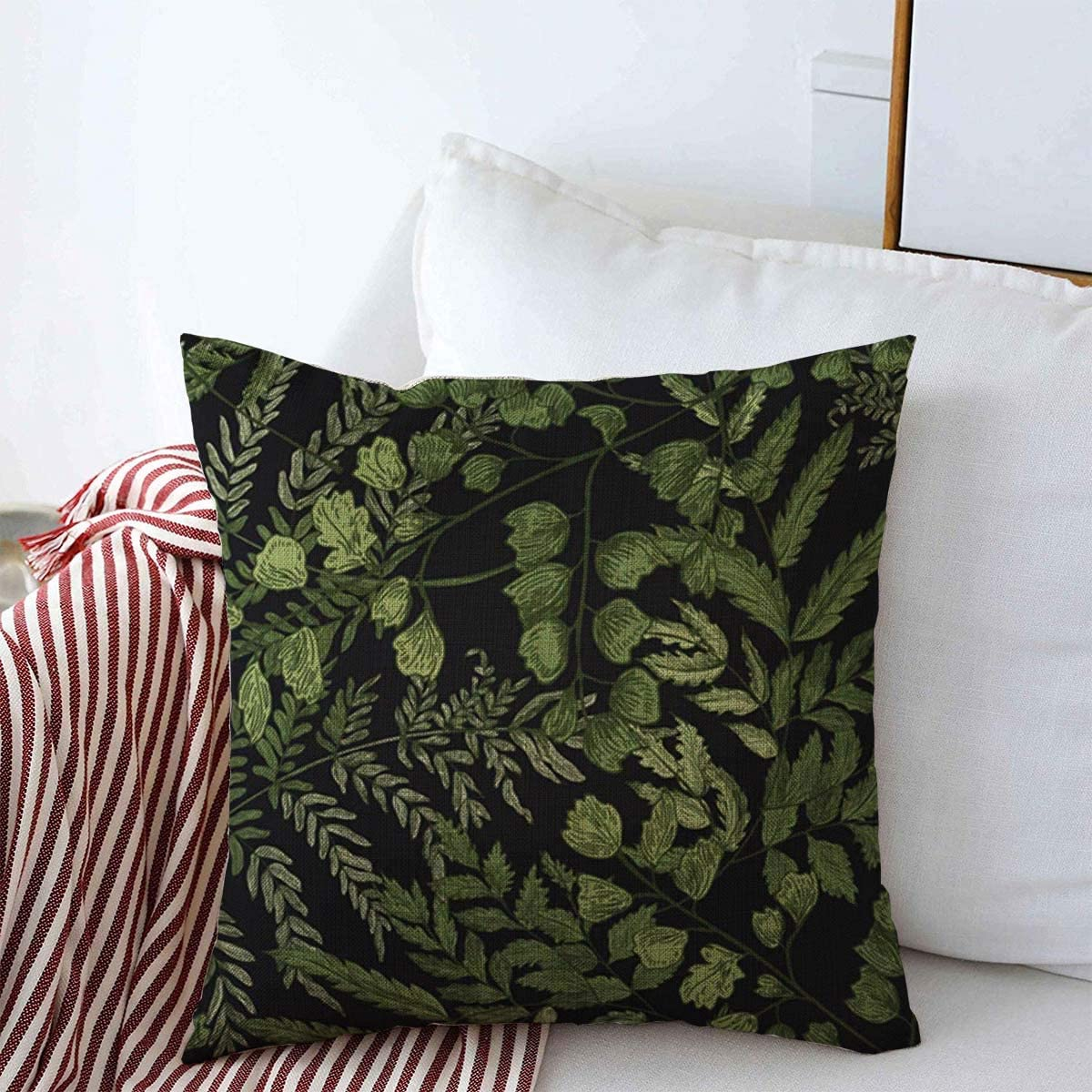 Starotor Throw Pillow Covers 18 X 18 Leaves Botanical Natural Ferns Green Herbaceous Realistic Nature Plant Vintage Antique Botany Design Cushion Case Cotton Linen For Winter Home Decoration Home Kitchen