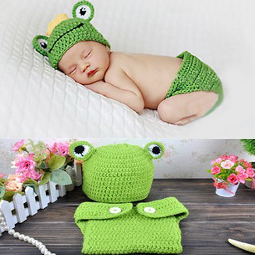 SMARTSTAR Lovely Baby Newborn Knit Crochet Frog Costume Infant Hat Photo Prop Outfit