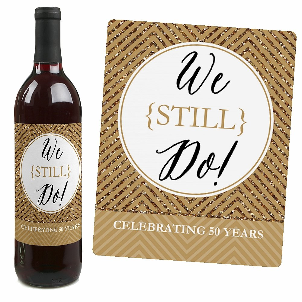 Amazon.com | We Still Do - 50th Wedding Anniversary Wine Bottle ...