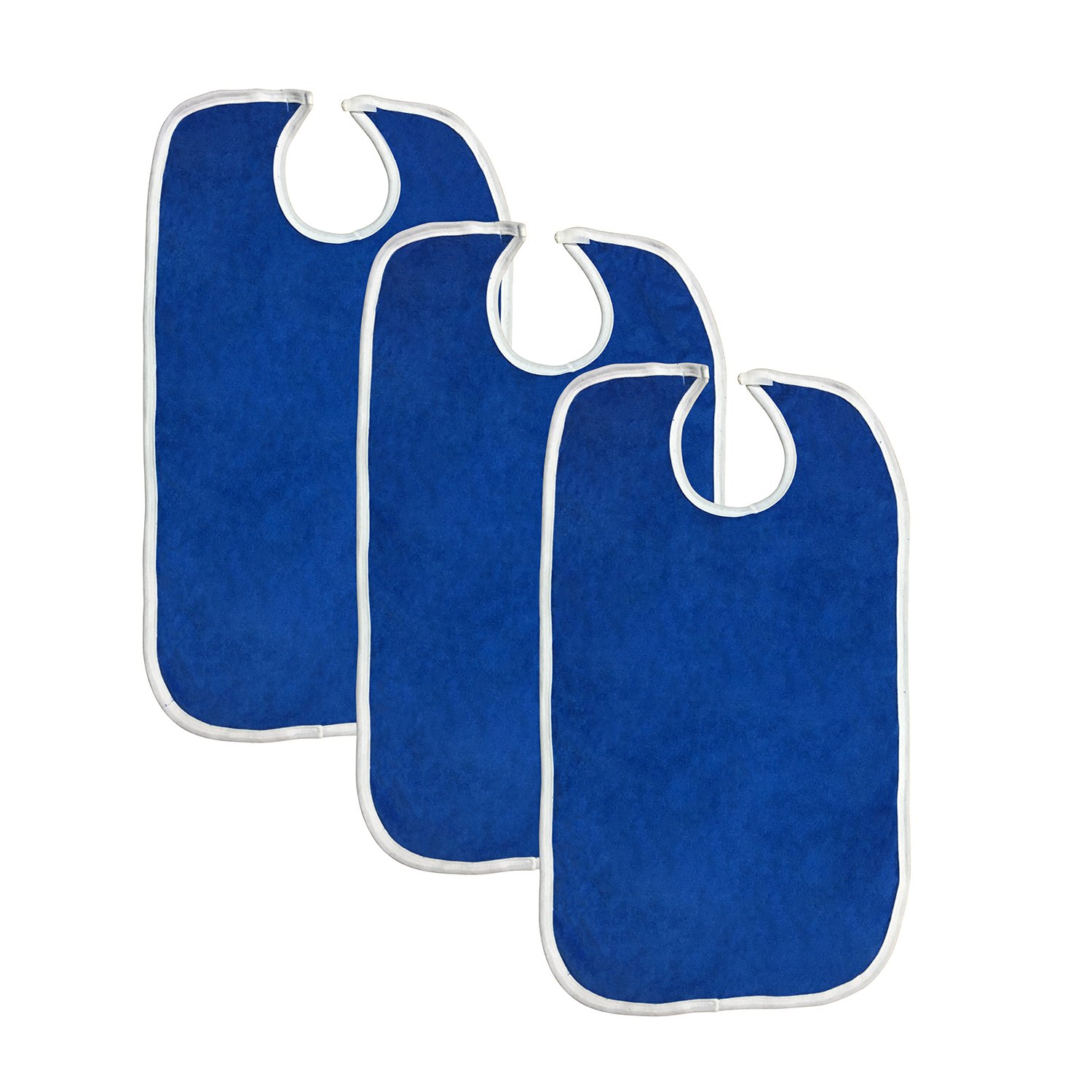 Terry Adult Reusable Bibs with Velcro Closure, 18'' x 30'', Double Ply Knit, Extra Absorbent and Washable, Royal Blue, Pack of 3
