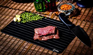 Zabika Defrosting Tray (Largest Size) for Rapid thaw - Best thawing Tray - Better Than Heating Tray - Safe to defrost Meat Frozen Food Pork chops, Lamb chops, Chicken, Fish - No Electricity Required.
