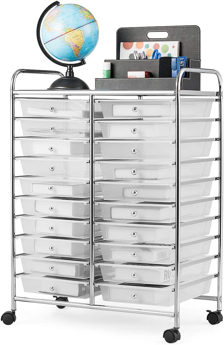 Giantex 20 Drawer Rolling Storage Cart Tools Scrapbook Paper Office School Organizer (25 x 15 x 35 Inch, Clear White)