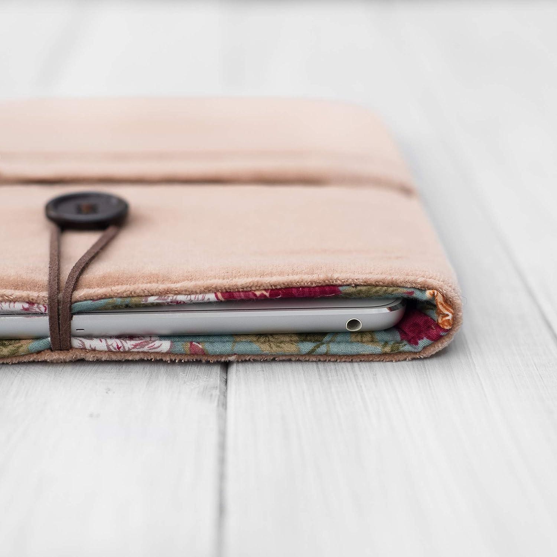 HOUSSE/étui/pochette pour tablette/iPad Pro Mini Air 9.7 10.5 11 12.9 / coton rose et toile de velours/Rembourré