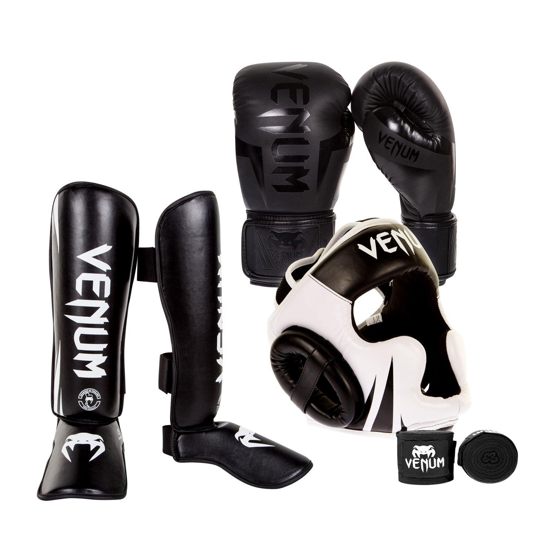 Venum Elite Challenger 2.0 Boxing Gloves Kit - Black/Black Gloves, Black/White Shinguards, Black/White Headgear, Black Handwraps - 10-Ounce Gloves, Medium Shinguards by Venum