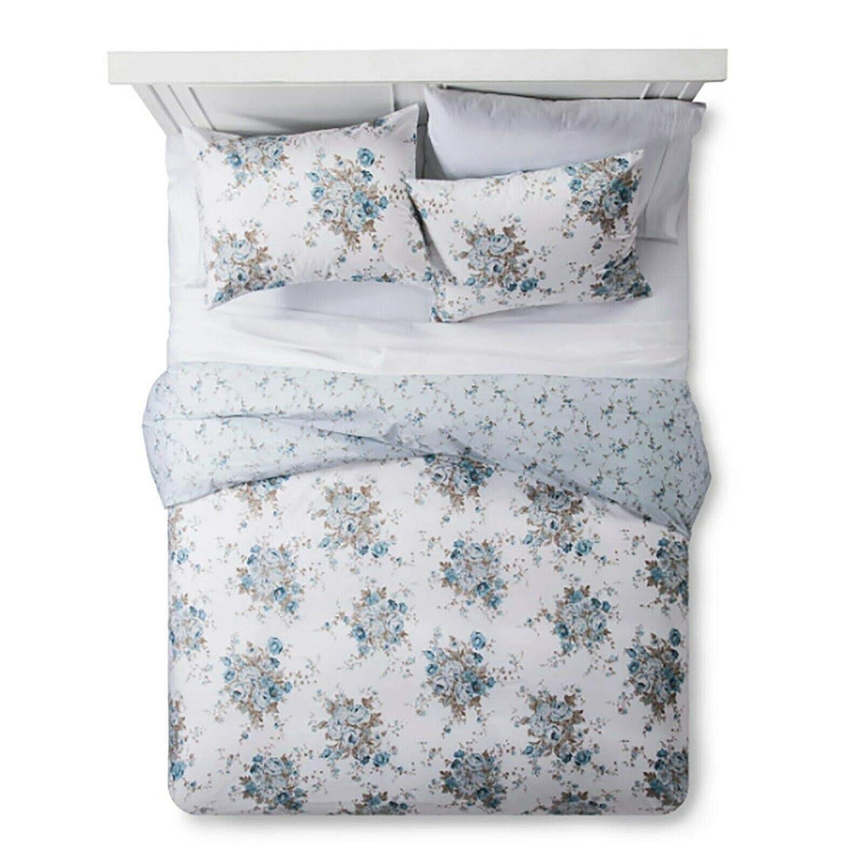 Simply Shabby Chic Aqua Rose Floral 3 Piece Duvet Cover Set - King, Blue