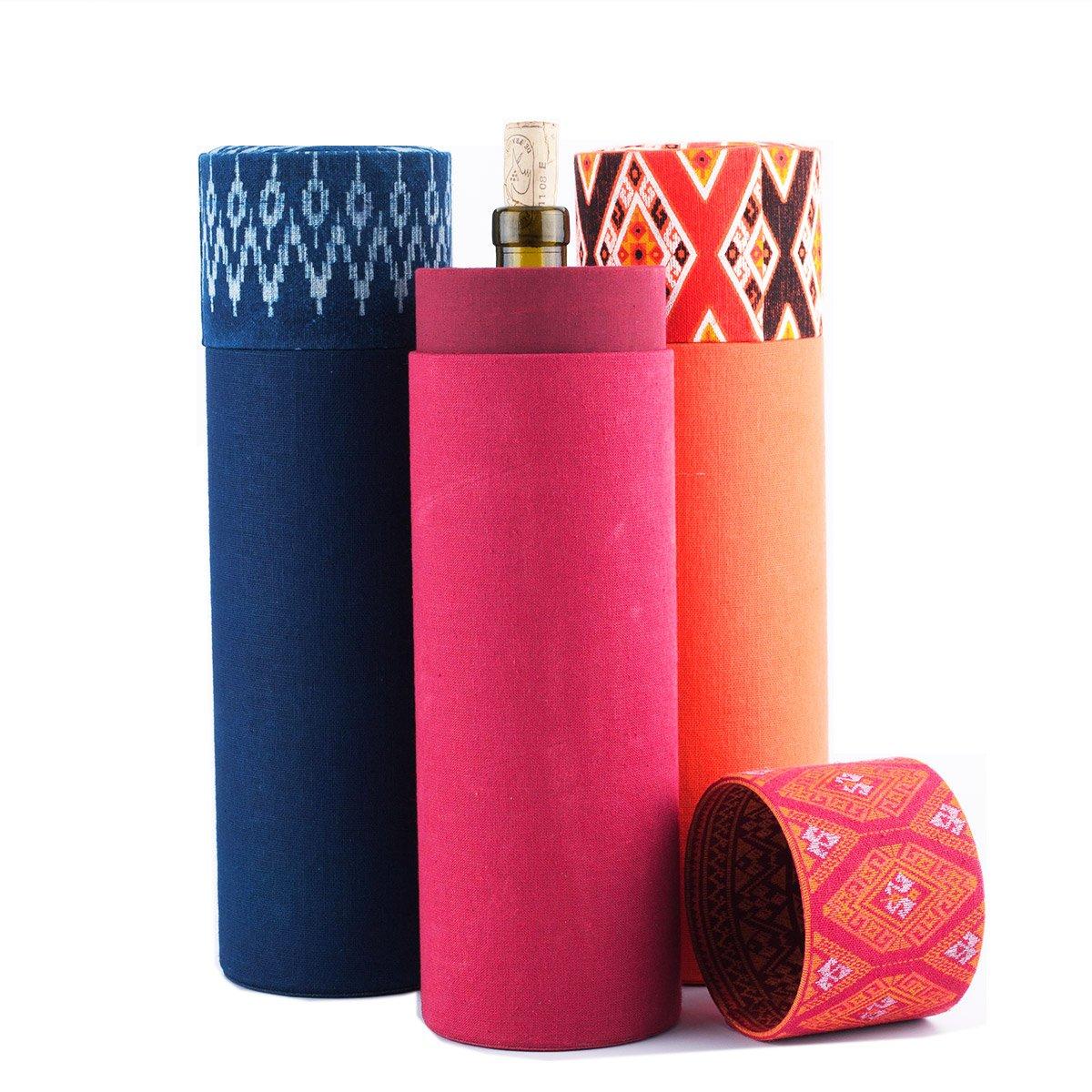 Thailand Mall Wine Gift Box Set 3 Pieces Thai Silk Fabric Blue Red Orange by THAILANDMALL