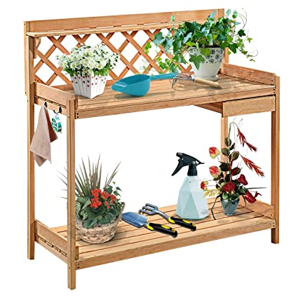 Giantex Potting Bench Garden Potting Benches Outdoor Planting And Gardening  Work Station Solid Wood Construction Potting