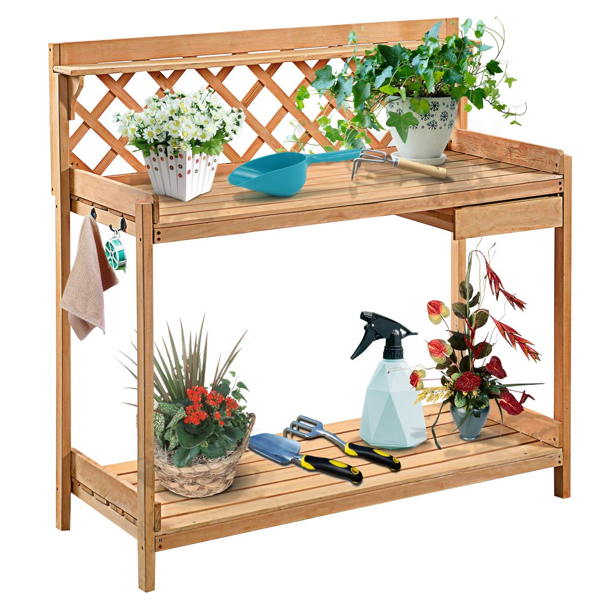 Giantex Potting Bench Garden Potting Benches Outdoor Planting and Gardening Work Station Solid Wood Construction Potting Table with Side Drawer and Rack Shelves 44'' L x 20'' W x 45'' H, Natural