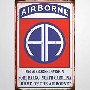 BYRON HOYLE Paratroopers 82nd Airborne Metal Sign,Vintage Tin Plaque,Yard Sign Wall Hanging Art,Rustic Wall Decor for Home Garage Coffee Bar Pub Farmhouse Living Room