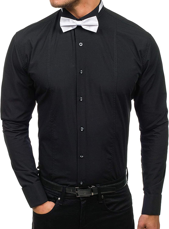 BOLF Hombre Camisa De Manga Larga Elegante Cuello Americano Slim Fit Estilo Casual 2B2