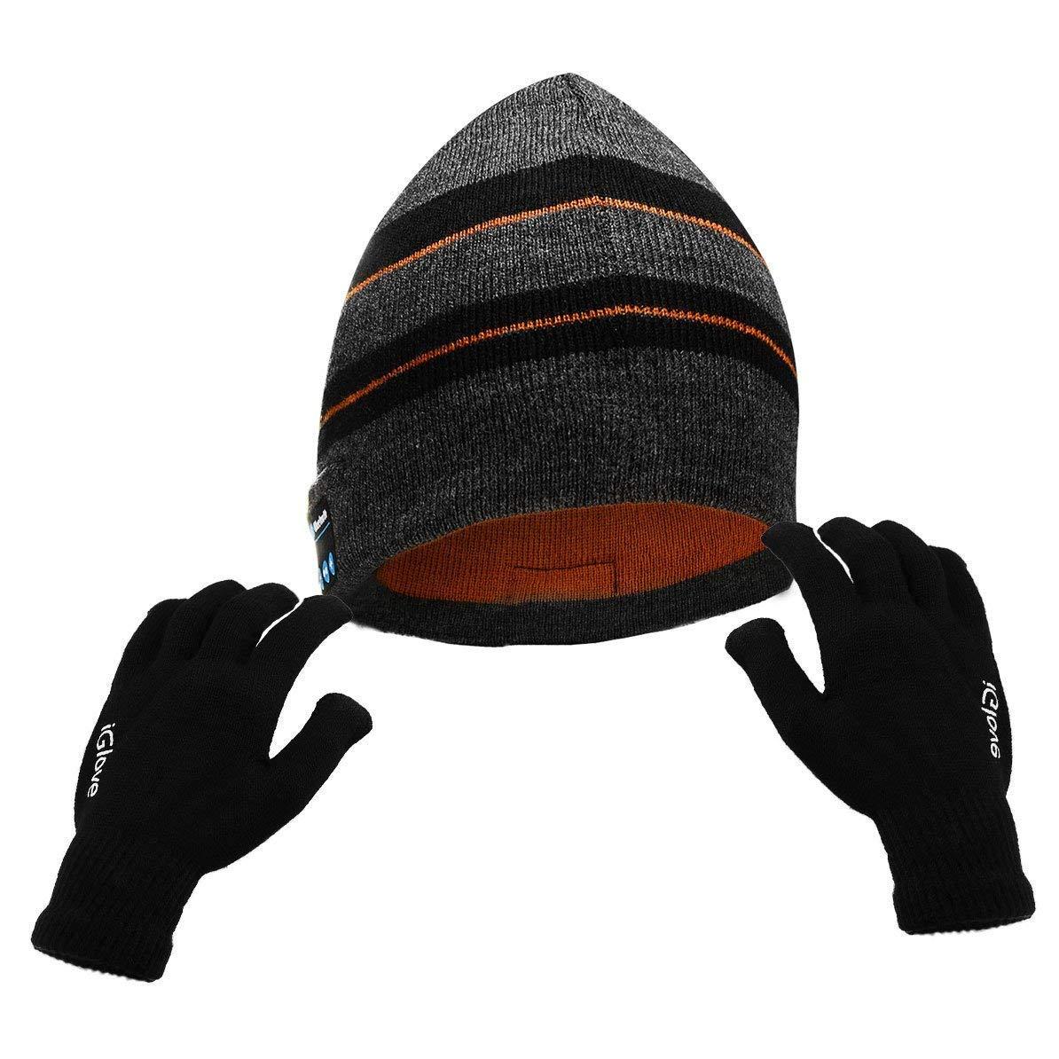 Powcan Cappello Bluetooth con Guanti da Touch Screen Musica Autunno e Inverno Bluetooth Cappello Auricolare Bluetooth Senza Fili Regalo di Festival