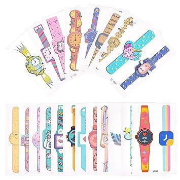 EKKONG Reloj de Pulsera Tatuajes Temporales Kit, Impermeables Falso Tatuajes Pegatinas para Niños Niñas, Fiestas Infantiles Cumpleaños de Niños ...
