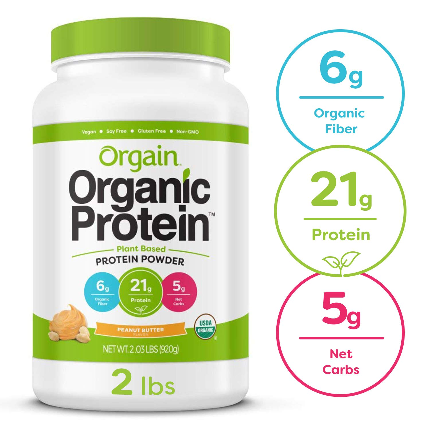 Orgain Organic Plant Based Protein Powder, Peanut Butter - Vegan, Low Net Carbs, Non Dairy, Gluten Free, Lactose Free, No Sugar Added, Soy Free, Kosher, Non-GMO, 2.03 Pound by Orgain