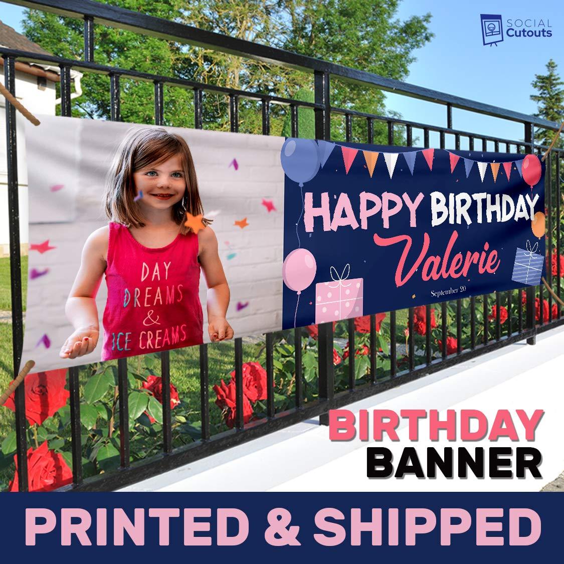 Pastel Bunting Birthday Vinyl Banner Personalized Printed Banner Birthday Outdoor Banner Happy Birthday Indoor Banner Custom Birthday Backdrop