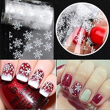 Amazon Com Enforten 1 Pcs White Snowflake Christmas Nail Art