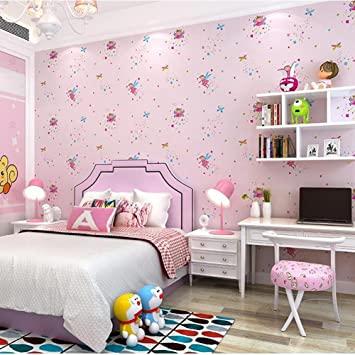 Kinderzimmer Tapete Mädchen Schlafzimmer Rosa Reines Papier Cartoon ...