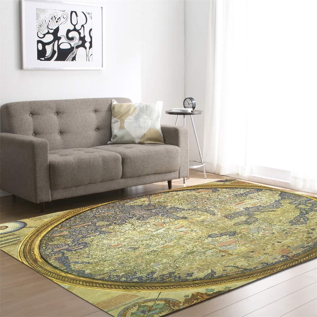 Rectangular Carpet Non-Slip Yoga Blanket Polyester Fiber Retro Living Room Bedroom Sofa Mat