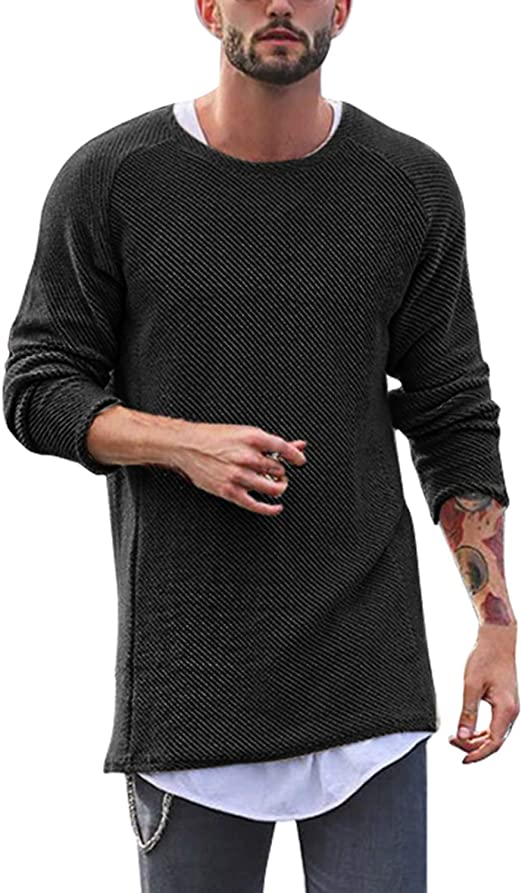 UK Mens Shirts Tee Pullover Crew neck Curved Hem Casual Long Sleeve Slim Fit Top